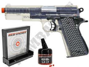 1911 BB Gun + Target | Red Jacket official Spring Airsoft Pistol Clear 2 Tone | KOMBATKIT